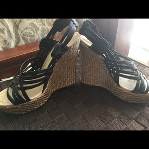 Cute Black Leather Strappy Wedges, Size 7